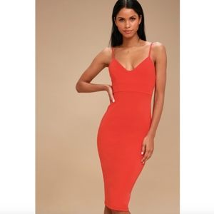 Lulu's Don't Tell 'Em Red Bodycon Midi Dress XL